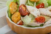 stock photo of caesar salad  - Caesar salad with chicken and iceberg salad - JPG