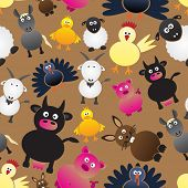 Colorful Farm Animals Simple Icons Seamless Pattern Eps10