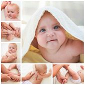 Collage masseur doing massage and gymnastics little baby