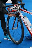 One Competitor Prepare The Bicycle Prepared For Triathlon