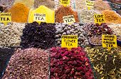 Teas, Spices on Egyptian and the Grand Bazaar in Istanbul. Turkey