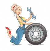 Beautiful girl mechanic with wheel. Eps10 vector illustration. Isolated on white background