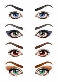 Womans eyes with make-up. Eps10 vector illustration. Isolated on white background