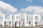 Concept of partner, friends,collaborate with group of business people stand with 3d text.