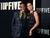 NEW YORK-DEC 3: Singer Freddie Jackson (L) and actress Rosario Dawson attend the
