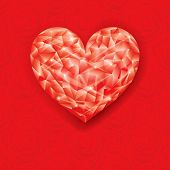 Red ruby heart shape of valentine background.