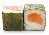 Sushi Maki Roll With Salmon Isolated On White Background