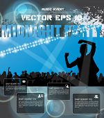 Dancing people, poster for music event party. Vector