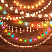 picture of christmas greetings  - Set of Glowing Christmas Lights for Xmas Holiday Greeting Cards Design - JPG
