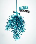Christmas tree branch toy, New Year Concept, Greeting card or Invitation Template