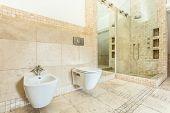 Interior Of Beige Bathroom