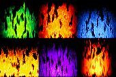 Set Of Burning Fire Generated Textures