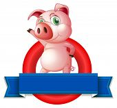 Illustration of a pig and a banner