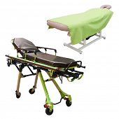 massage bed and stretcher under the white background