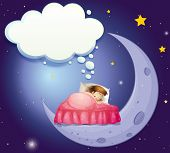 stock photo of have sweet dreams  - Illustration of a girl having a sweet dream in bed - JPG
