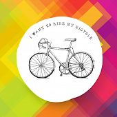 Vintage bicycle illustration on colorful background. Raster version