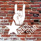 Rockstar symbol with sign of the horns gesture. Raster version