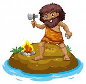 A caveman in the island on a white background
