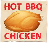 Illustration of hot BBQ chicken poster