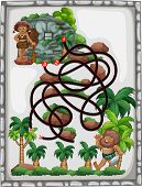 Illustration of a maze game with caveman background