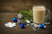 Christmas Concept (decoration). Cup Of Coffee With Blue Ball On Rustic Wooden Background