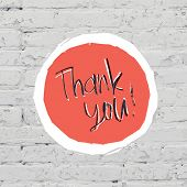 Thank You Card On White Bricks Wall. Raster version