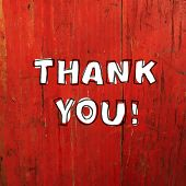 Thank You Card Design On Red Planks Texture. Raster version