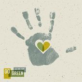 Go Green Concept Poster With Handprint Symbol. Raster version