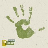 Go Green Concept Poster. Handprint on recycled paper texture. Raster version