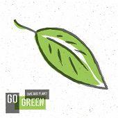 Go Green Concept Poster With Leaf Symbol. Raster version