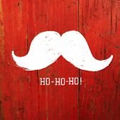White Santa's Moustache and Ho-Ho-Ho! words. Christmas funny card design. Raster version