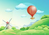 Illustration Of Summer Fields With A Mill And A Balloon In The S