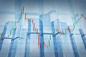 Stock Market Chart On Blue Tower