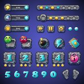 Set Stone Buttons, Progress Bars, Bars Objects, Coins, Crystals, Icons, Boosters And Other Ellemento