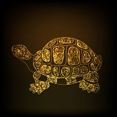 Chinese symbol of wealth tortoise in sparkling golden color on shiny brown background for Happy New Year celebrations.