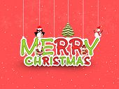 Merry Christmas celebration poster, flyer or banner with beautiful hanging text, penguin, snowman and Santa Claus on snowflake decorated shiny red  background.