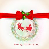 Merry Christmas celebration greeting or invitation card with ribbon, mistletoe and Santa sitting in his reindeer sleigh.