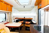 stock photo of bunk-bed  - Down position of bunk bed in recreational vehicle - JPG