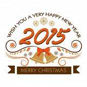 Poster for Merry Christmas and New Year 2015 celebrations with jingle bells on white background.