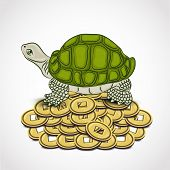 Chinese symbol of wealth tortoise standing on the heap of coins on grey background.