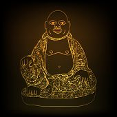 Shiny golden laughing Buddha in traditional clothes on brown background.