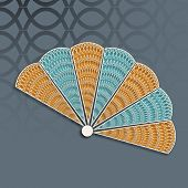 Beautiful floral decorated traditional paper fan of China on stylish background.