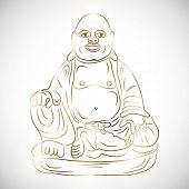 Sitting laughing Buddha in traditional clothes on grey background.