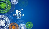 66th Indian Republic Day celebrations with floral decorated Ashoka Wheels in national flag colors on blue background.
