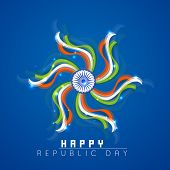 Happy Indian Republic Day celebrations with Ashoka Wheel and national flag color ribbons on shiny blue background.