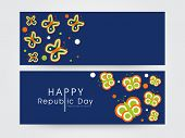Website header or banner set with butterflies in national flag colors on blue background for Happy Indian Republic Day celebrations.