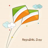 Indian Republic Day celebration greeting card with flying kites in national tricolor.