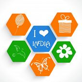 Stylish sticker, tag or label design in national tricolor for Indian Republic Day and Independence Day celebrations.