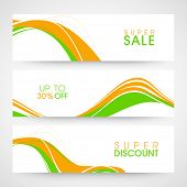 foto of indian independence day  - Website sale header or banner set with national flag colors wave for Indian Republic Day and Independence Day celebrations - JPG