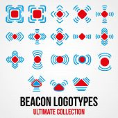 Set of black vector beacon icons.